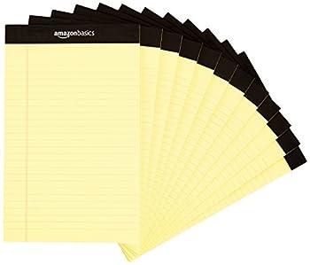 Amazon Basics Narrow Ruled 5 x 8-Inch Writing Pad - Canary  50 Sheet Paper Pads 12 pack