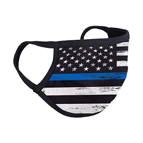 Blue Line Face Mask Reusable - Designer Hand Made Masks - Machine Wash - Made in The USA, Colorful Stylish High Fashion Face Covering Thin Blue