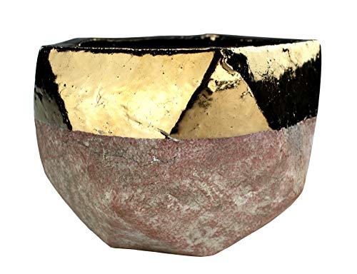 DARO DEKO Blumentopf Fünfeck L aus Keramik - braun mit Goldrand