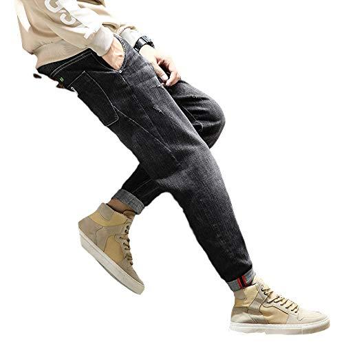 Nuevos Pantalones Vaqueros para Hombre, Pantalones Harem de Mezclilla con puños en la Cintura elástica, Pantalones Casuales Lavados Sueltos, clásicos, básicos, elásticos, Sueltos, Lisos 30