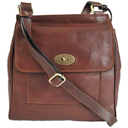 6d68d2fa027b Gianni Conti Medium Brown Fine Italian Leather Satchel Crossbody Bag 914064