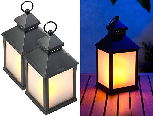 Lunartec Laterne mit LED Licht: 2er Pack LED-Laterne mit realistischem Flammenspiel und Timer (LED-Effekt-Lampe)
