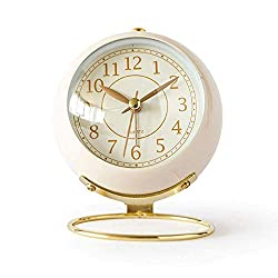 JUSTUP Small Table Clocks, Classic Non-Ticking Tabletop Alarm Clock Battery Operated Desk Clock with Backlight HD Glass for Bedroom Living Room Kitchen Indoor Decor (White)