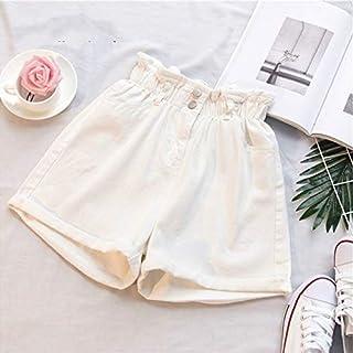 XSWY Plus Size Summer Black Women's Denim Shorts Large Size 5Xl Harem Ruffle White High Waisted Shorts Elastic Waist Jeans for Women (Color : White, Size : 4XL)