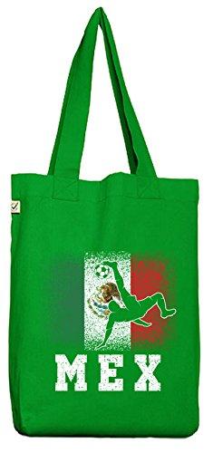 ShirtStreet Mexiko Fußball WM Fanfest Gruppen Fan Bio Baumwoll Jutebeutel Stoffbeutel Mexico Football Player, Größe: onesize,Kelly Green
