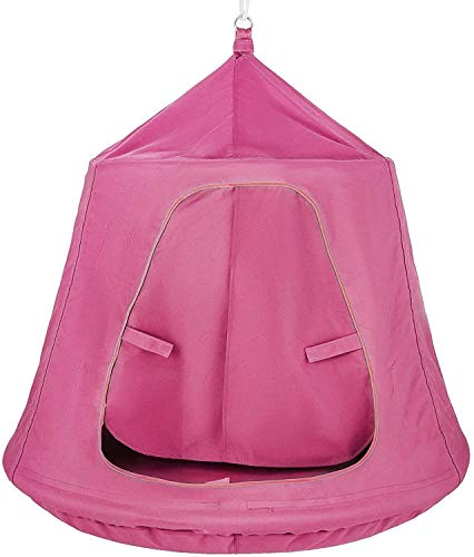 INWAVE Hanging Tree Tent Pink Hanging Tent for Kids Hanging Space Capsule Swing & Hammock , Hanging Tree House Tent Waterproof Portable Indoor or Outdoor Use with Led Decoration Lights