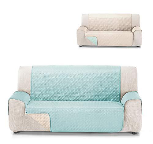 Cardenal Textil Rubí Cubre Sofa Bicolor Reversible, Aguamarina/Crudo, 3 Plazas