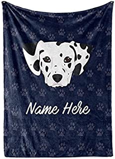 Personalized Custom Pet Dalmatian Fleece and Sherpa Throw Blanket for Men, Women, Kids, Babies - Matching Pet Blankets Perfect for Bedtime, Bedding or as Gift