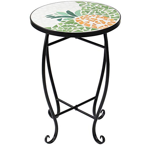 Display4top Mosaic Round Outdoor Accent Table,Plant Flower Stand,Round Side Table (Yellow)