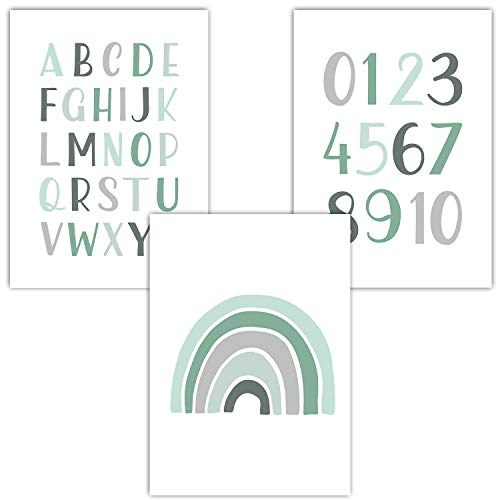 Frechdax® 3er Set Kinderzimmer Poster Babyzimmer DIN A4 ohne Bilderrahmen | Mädchen Junge | Kinderposter Bilder (3er Set Mint, Alphabet, Regenbogen)