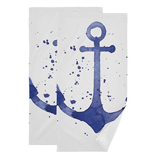 Juego de 2 Toallas Decorativas para baño Art Anchor Icon Toallas de baño simbólicas Toallas corporales absorbentes Suaves de Secado rápido adecuadas para baño, Cocina, Inodoro, Playa
