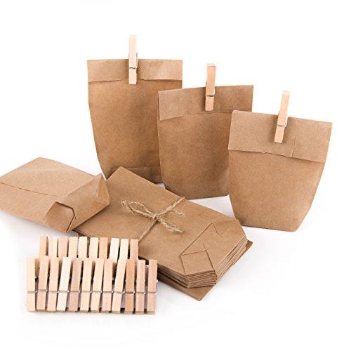 Adventskalender aus Papiertüten: Bastel-Set 24 Mini-Papiertüten natur braun 15 x 9 x 3,5 cm + 24 Holzklammern Mini-Geschenke verpacken Weihnachten give-away Gastgeschenk Mitgebsel