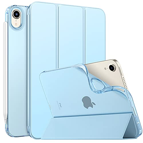 MoKo Case Fit New iPad Mini 6 2021 (6th Generation 8.3 inch), Soft TPU Translucent Frosted Back Cover Slim Smart Shell Stand Folio Case for iPad Mini, Auto Wake/Sleep, Sky Blue