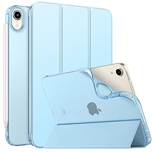 MoKo Funda Compatible con Nuevo iPad Mini 6ª Generación 8.3' 2021 (iPad Mini 6 8.3-Inch), Ultra Delgada Soporte Protectora Plegable Cubierta Inteligente Trasera Transparente Funda, Azul Claro