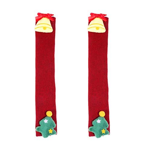 NUOBESTY 2 stycken jul kylskåp handtag skydd Jingle klocka julgran mönster enhet handtag skydd julsmycken för mikrovågsugn diskmaskin dörrhandtag