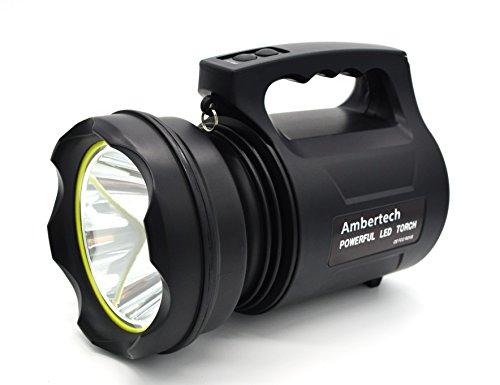 Ambertech 10000 Lumens Linterna de gran potencia Linterna LED de gran alcance Linterna recargable Super brillante Spotlight al aire libre