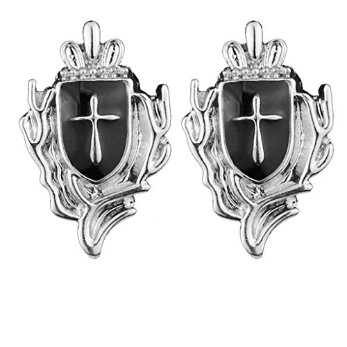 SweetWU - Broche de solapa para hombre, diseño de escudo cruzado, color plateado