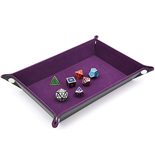 IvyFieldDice Dice Holder PU Leather Folding Rectangle Tray w/Purple Velvet for RPG, DND and Other Table Games