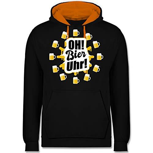 Sprüche - Oh Bier Uhr! Biergläser - XXL - Schwarz/Orange - Oktoberfest - JH003 - Hoodie zweifarbig und Kapuzenpullover für Herren und Damen