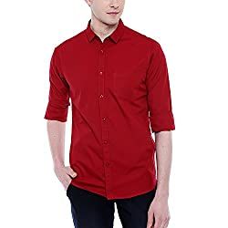Dennis Lingo Mens Cotton Maroon Solid Casual Shirt