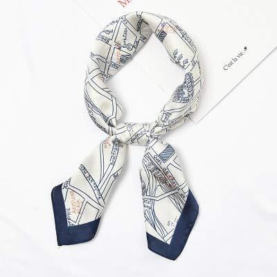 YDMZMS Contrasterende sjaal, vierkante haarband van zijde voor dames