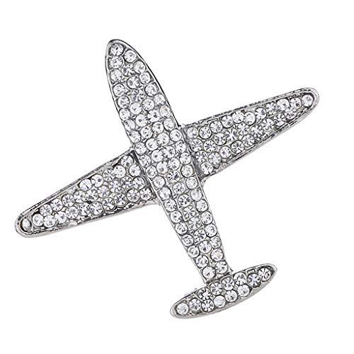 Baoblaze Metall Schmucknadel Glitzer Broschen Flugzeug-Form Anstecknadel Buttons, Deko für Mantel Pullover Jacke Hut - Silber