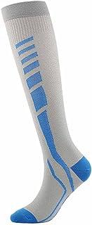 ZSQAW New Knee Running Compression Socks Long Stockings Sports Socks for Marathon Jogging Cycling Football Basketball (Col...