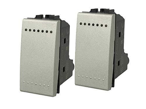 LEDLUX 2 unidades de dispositivos de control compatibles con Bticino Living (interruptor unipolar, plateado).