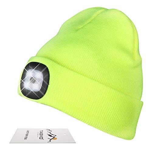 TAGVO USB Nachladbare LED Mütze-Kappe, Beleuchtung und Blinkende Warnungs-Arten 8 LED, einfache Installation Schnellverwendbare Scheinwerfer-Mütze, Kind Unisex-Winterwärmer-Strickkappe