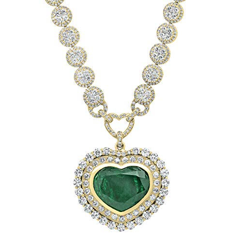 Colombian Emerald & Round White Diamond Necklace