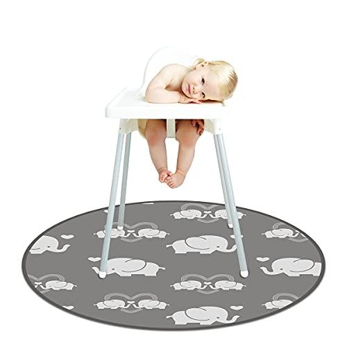 Alfombrilla para silla alta, 132 cm, para bebé, para debajo de la silla alta, impermeable, antideslizante, multiusos, redonda, para bebés, manualidades para niños (elefante)