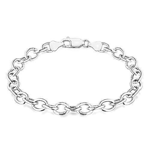 TJC 925 Sterling Silver Belcher Link Chain Bracelet for Women & Girls Size 8'