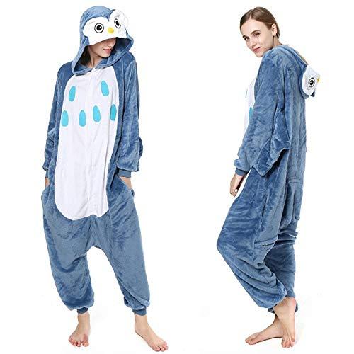 Schlafanzug Unisex Giraffe Kigurumis Frauen Onesies Adult Winter Pyjama Lustiger Overall Polar Fleece Tier Cartoon Overalls Halloween Anzug-Eule_S.