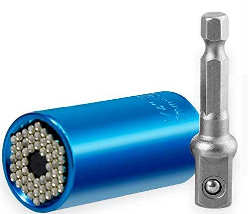 FYYONG Universal de la energía de Carraca Head Set Socket manga 7-19mm taladro Herramientas Grip trinquete buje llave inglesa llave mágica Multi Mano (Color : Blue)