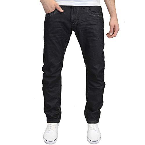 CrossHatch Herren Designer Eng Geschnitten Gerades Bein Modische Jeans, Etikett - Schwarz, 40W/34L