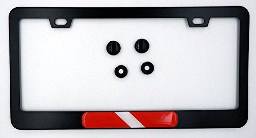 Diving Flag Metal Black Aluminium Car License Plate Frame Holder Diver Dive
