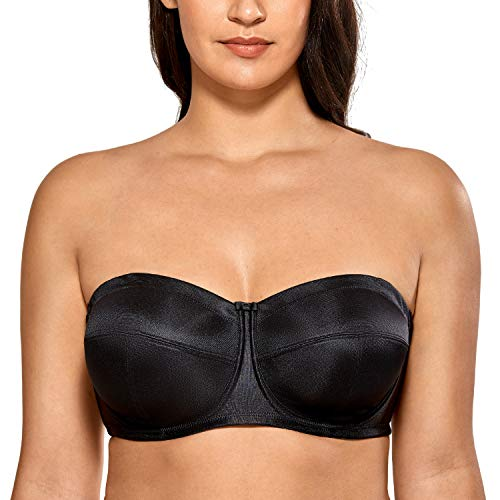 DELIMIRA Women's Strapless Bra for Large Bust Underwire Ultra Support Convertible Strap Black 44DD