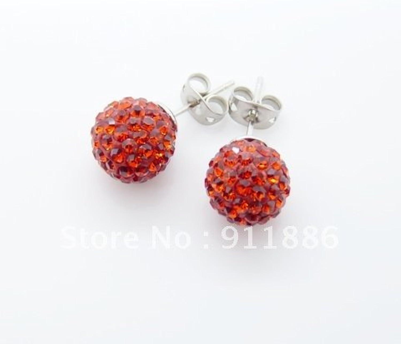 KDESIGN High quality ShamballaEarrings Red 10mmDisco ball beads Stud Earrings 12Pair Lot