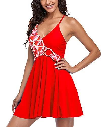 Costume da Bagno Donna Mare Gonna Tankini Due Pezzi Bikini Brasiliana Taglie Forti Spiaggia (Plaid Rosso XXL)