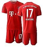 JEEG 20/21 Kinder Boateng 17# Fußball Trikot Jugend Trainings Anzug T-Shirt Set (Kinder Größe 4-13 Jahre) (26)