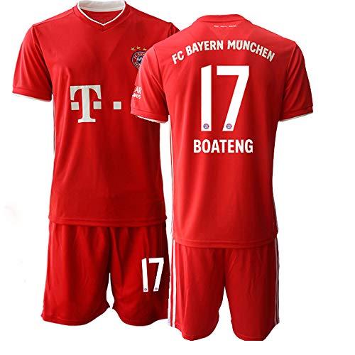 JEEG 20/21 Kinder Boateng 17# Fußball Trikot Jugend Trainings Anzug T-Shirt Set (Kinder Größe 4-13 Jahre) (20)