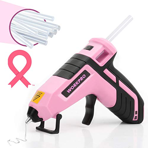 WORKPRO Cordless Hot Melt Glue Gun, Rechargeable Fast Preheating Mini Glue Gun Kit with 20 Pc Premium Glue Stick, Automatic-Power-Off Glue Gun for Art, Crafts, Decorations, Fast Repairs, Pink Ribbon