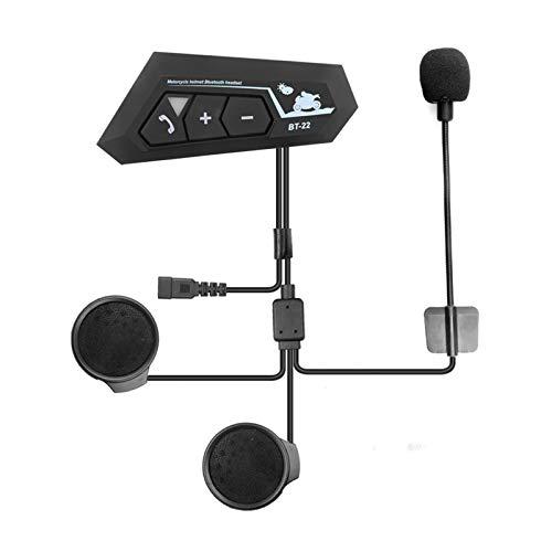 Bluetooth 5.0 Casco de Motor Auriculares inalámbricos Manos Libres Auriculares estéreo Auriculares Auriculares MP3 Altavoz Impermeable con micrófono (Color : BT22)