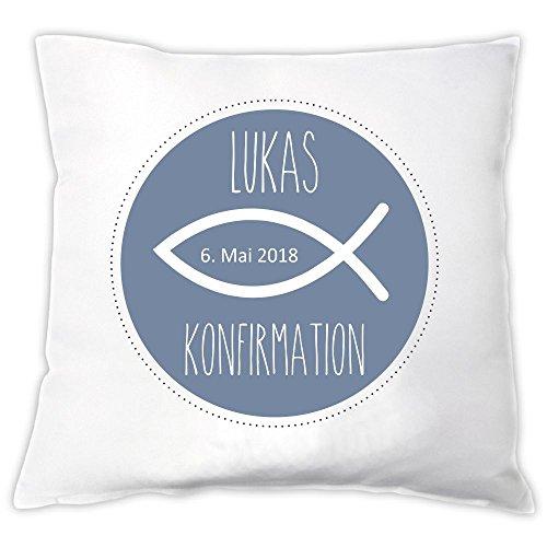 4you Design Personalisiertes Kissen Meine Konfirmation/Firmung/Kommunion (Fisch) - Geschenkidee - Dekokissen - personalisiertes Geschenk (blau)