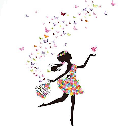 Lumanuby 1x Glücklich Blumen-Fee und Vogelkäfig Wand Decal PVC für Wohnzimmer Schlafzimmer oder Kindergarten Abnehmbarer Aufkleber mit Schmetterling Bild, Wandtattoo Serie Size 140x70cm