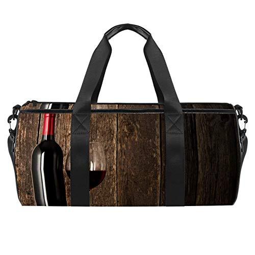 TIZORAX - Bolsa de viaje para gimnasio de vino tinto y cristal, bolsa de viaje