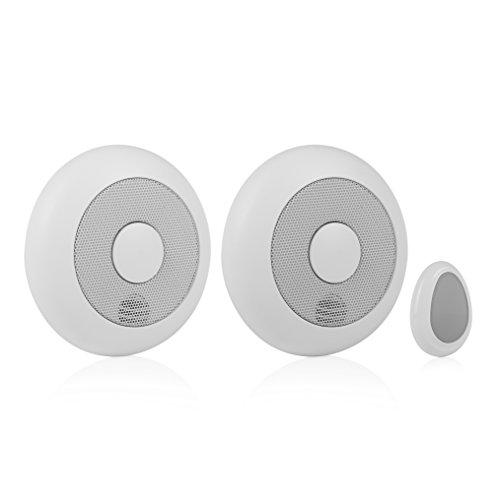 Smartwares 10.041.05 RM175RF/2 - Pack de 2 Detectores de humo y Mando a distancia, 85 dB, Baterías incluidas, Inalámbrico, Interconectable, batería de 1 año