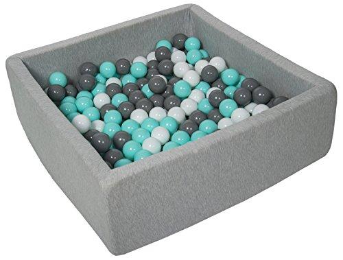 Velinda Bällebad Ballpool Kugelbad Bällchenbad Kinder-Pool mit 200 Bällen/90x90cm (Farbe der Bälle: weiß,grau,türkis)
