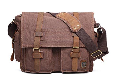 sulandy @ Nuovo stile Vintage tela con finiture in pelle unisex borsa a tracolla scuola militare borsa a tracolla borsa Messenger, coffee(large), L