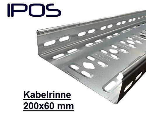 200x60 IPOS Kabelrinne 2 Meter Kabelkanal Kabeltrasse Verzinkt Metallkanal